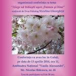 "Conferinta – ""Alege sa traiesti usor frumos si bine"" – la Galati pe 13.04.2014 ora 11."